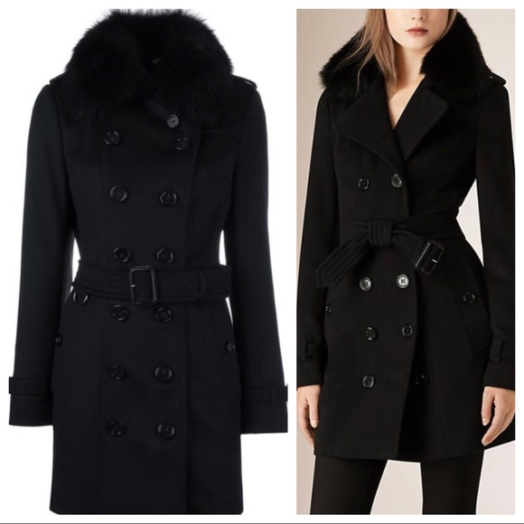 Burberry wool cashmere fur collar trench coat